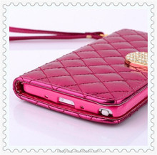New Luxury Brand Leather case for samsung galaxy note 4 S5 S4 S3 gold grid hard cover cases for iphone 6 plus 5 5s 4 4s 5C