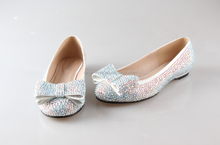 BS923 Customize Handmade Multicolor AB Rhinestones Flat Wedding Shoes Party Dress Shoes Ballet Flats Women Shoes