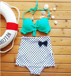 Direct-sale New Style Swimsuit The Western Style Retro High Waist Slimming Double Halter Neck BIKINI Dots