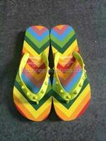 2015 Fashion Girls Brand beach flip flops women slippers Ladies sandals Rainbow EVA Sole Yellow rivets Unisex size 35-45