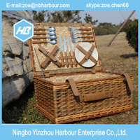 out door handmade Wicker picnic basket with cutlery