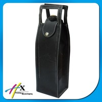 Custom Logo Printed High Quality Leather Portable Wine Carrier