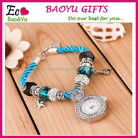 Fashion Colorful Quartz Pendant Bracelet Watch Cheap Crystal Bracelet/Wrist/Hand Watch Women
