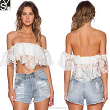 New Style Pure White Off Shoulder Custom Design Girls Summer Sexy Lace Crop Top