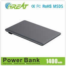 1400 mah portable mini credit card polymer battery power bank built-in cable power bank Innovations design