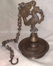 South Indian brass oil lamp