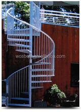 outdoor wrought iron white spiral stair