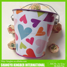 Metal Tin bucket/Pail With Handle For Valentine Day Decoration and Gift