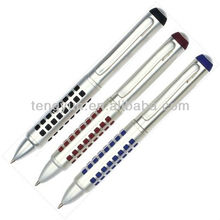 Colorful dotted-matrix grip metal ball pen 032036