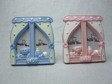 Hot sale ceramic window shaped double orifices baby girl boy photo frames