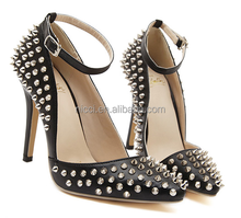 2015 Top Sexy Rivets Strap Women Ladies High Heel Shoes Stiletto heel
