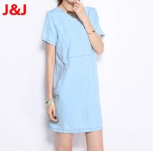 2014 New fashion casual Denim jeans tannin collar sleeveless cotton blue dress to send belt