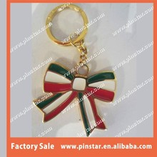 Gold Metal Color Soft Enamel Custom Bow Shaped Key Chain Supplier