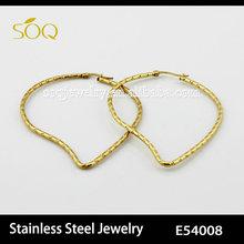 SOQ Stainless Steel 18K Gold Plated Twist Pierced Big Envirometal Hoop Earring