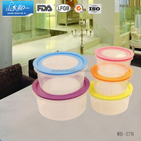 wholesale new product for Christmas WH-578 plastic crisper box 5pcs with colorful lid