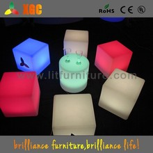 Rechargeable Li-ion battery lit LED plastic garden stool, LED cube chair