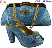 Nigeria hot selling Italian ladies shoes and bag 2016 high quality popular African bridal shoes matching bags