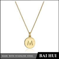 Fashion 316 Stainless Steel 18K IP Gold Plated Alphabet Letters M Pendant Necklace/Latest Designs Letter M Pendant