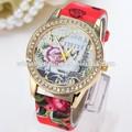 2015 novas mulheres diamante rosa flor relógio de quartzo