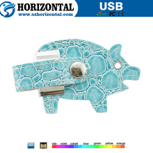 New product Alligator Pattern light blue leather USB memory stick