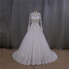 Detachable alabast wedding dress with 3/4 length sleeves