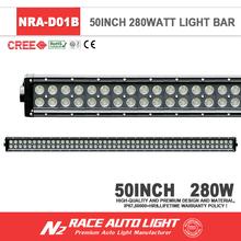 China Factory E-Mark Aluminum Housing 50'' 288W Double Row Straight C ree 4x4 Led Light Bar