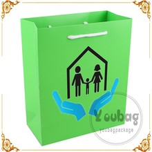 luxury laminationed gift bags, cotton handle green stripe shopping paper bags