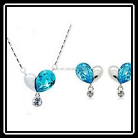 Korea Hot Sale Silver Crystal Heart Jewelry Set Buy Chinese Products Online MGJ0228