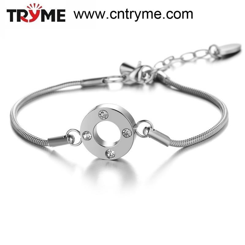 TRYME BIJOUX À La Mode En Acier Inoxydable Argent Serpent Chaîne Bracelet Style Européen Bracelet En Cristal de Charme Bijoux Grossiste, 693