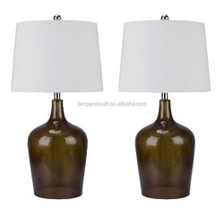SAA CUL CE ROHS bear bottle shaped brown black glass table light with white empire lampshade