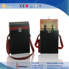 portable 2 bottles leather wine packaging box,leather wine carrier