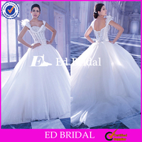 ST514 Fairy Tale Swan Princess Wedding Gown Cap Sleeve Embellished With Beaded And Fur Bridal Gown