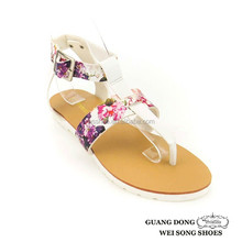 T-strap ankle strap buckle slingback nice printing upper ladies leather sandals made in china
