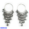 wholesale silver colour long rhinestone earring with crystal earrings and hoop earring
