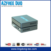 double antenna 4k satellite receiver Azfree DUO with free iks sks iptv hd sex video