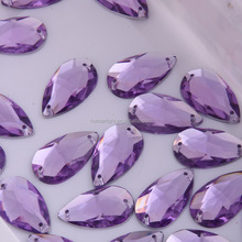 Stone With Holes 17x28mm Tear drop Sew On Acrylic Stones With Double Holes Violet Color Plastic Beads With Holes