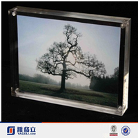 """8"""" Acrylic 5X7 Double Sided Block Clear Modern Picture Photo Flip Frame"""