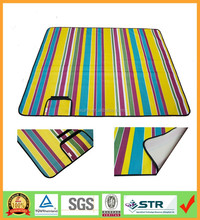 Easy carry Folding up green and yellow stripe beach mat