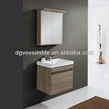 Atacado moderna melamina armários de banheiro/cor cinza claro armários com prateleiras de madeira