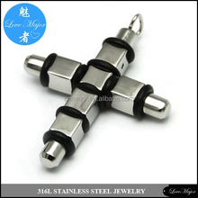 Mechanical cross stainless steel pendant fashion jewelry with black rubber band MJLP-043