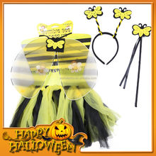HWT-1016 2015 Halloween party for kids Yellow color Tutu wing wand & headband set