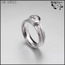 Wholesale women's new elegant matte stainless steel rings jewelry with zircon