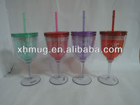 Plastic Wine cup with straw Wine glass