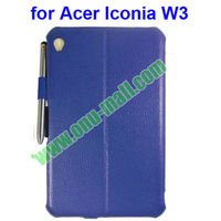 Smart Cover Wake Up/Sleep Leather Case for Acer Iconia W3-810 with Pen
