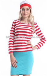 """Adult drop ship carnival instyles<span class=""""_product""""></span> Hot Sale 1019 Wheres Wally Fancy Dress Outfit Hat Glasses Ladies"""