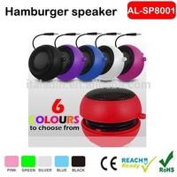 Mini foldable promotional gift hamburger speaker hamburger for laptop/smartphone/MP3/MP4