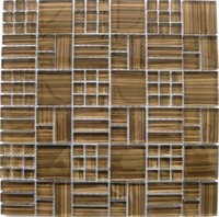 Brown Drawing Glass Tile, Mosaic Tile Wall Decoration, Mosaico (KSL-9038)