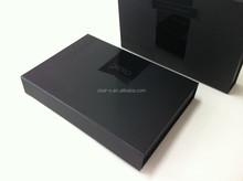 Natural customized high quality cardboard uv logo handmade black paper box