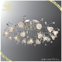 2015 hot sale modern G4 led low voltage small glass flower ceiling lights with crystal