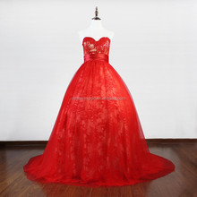 JPSKIRT1506077 Elegant Short Trail Strapless Red Wedding Dress